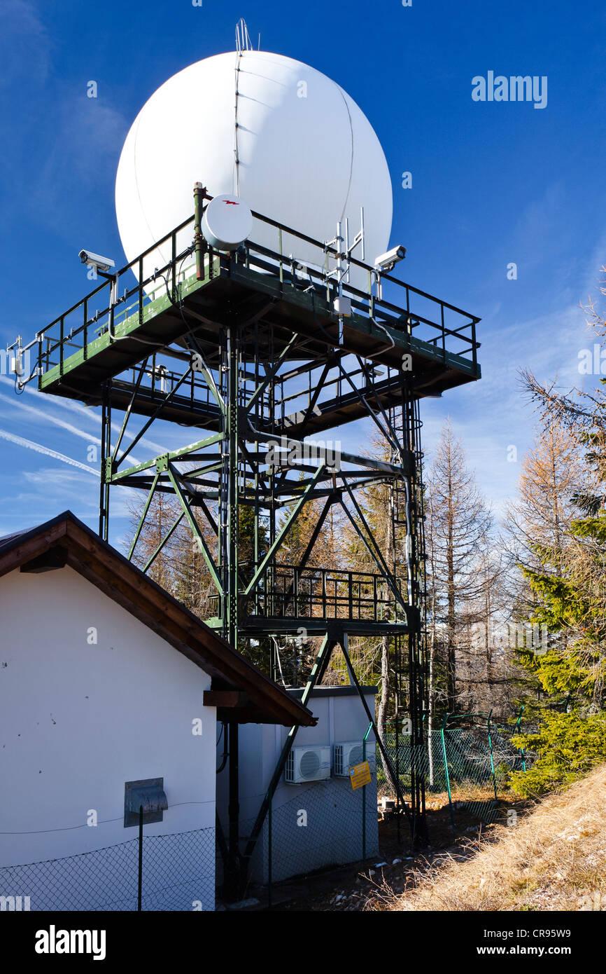 Precipitation Radar Station on Gantkofel Mountain, Mendel Ridge, Alto Adige, Italy, Europe - Stock Image