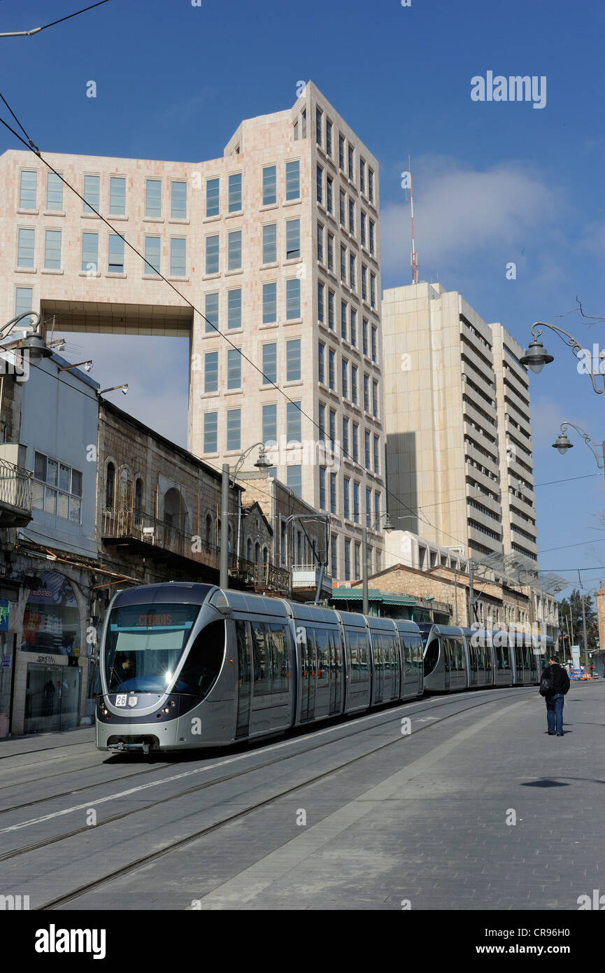 Street scene on the Jaffa Road with a tram of the new tram line, light rail, Jerusalem, Israel, Middle East, Southwest - Stock Image