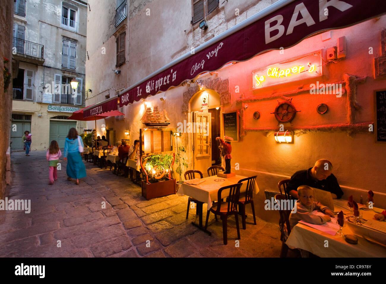 Restaurant, blue hour, Bonifacio, south coast, Corsica, France, Europe - Stock Image