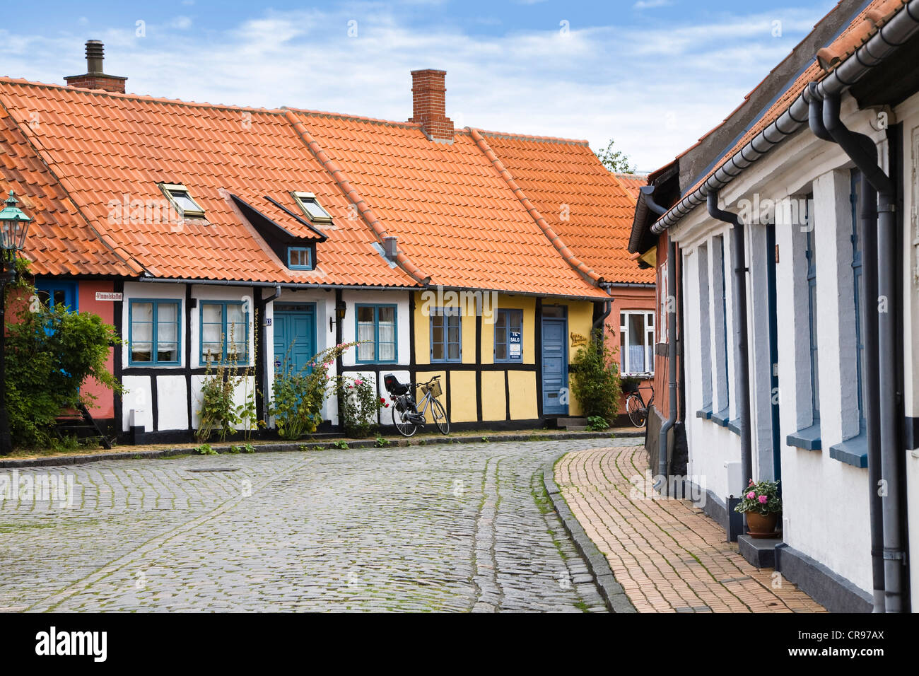 Timber-framed houses in Rønne, Bornholm, Denmark, Europe - Stock Image