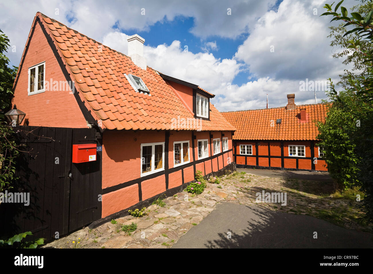 Timber-framed houses in Gudhjem village, Bornholm, Denmark, Europe - Stock Image