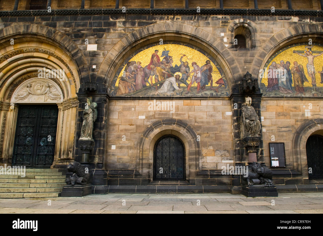 Stations of the cross and depiction of the crucifixion at St. Petri-Dom, St. Peter's Cathedral, Bremen, Germany, Stock Photo