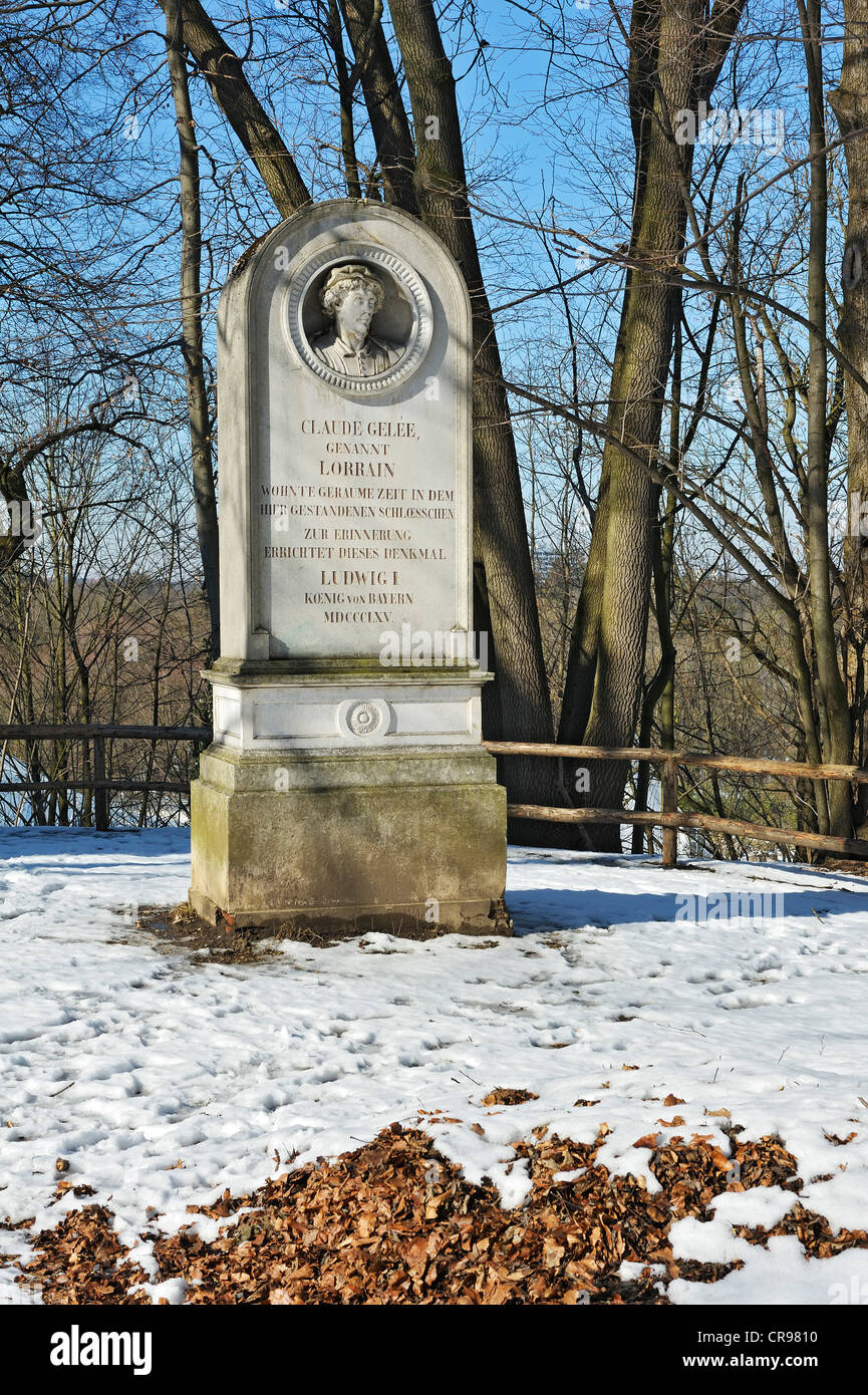 Monument to Claude Gelee, known as Lorrain, Harlaching, Munich, Bavaria, Germany, Europe - Stock Image