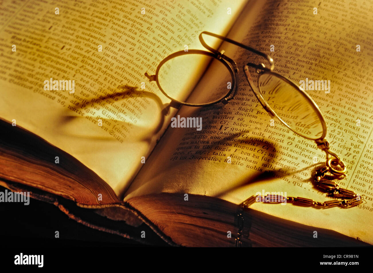 9a82e5198c2f Pince-nez spectacles on an old Stowasser Latin-German dictionary - Stock  Image