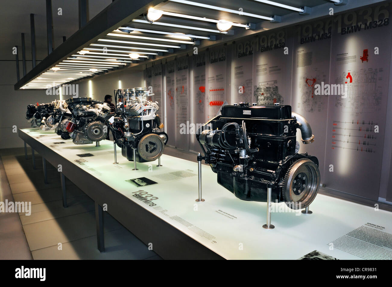 Museo Bmw.Bmw Car Engines Bmw Museum Munich Bavaria Germany Europe Stock