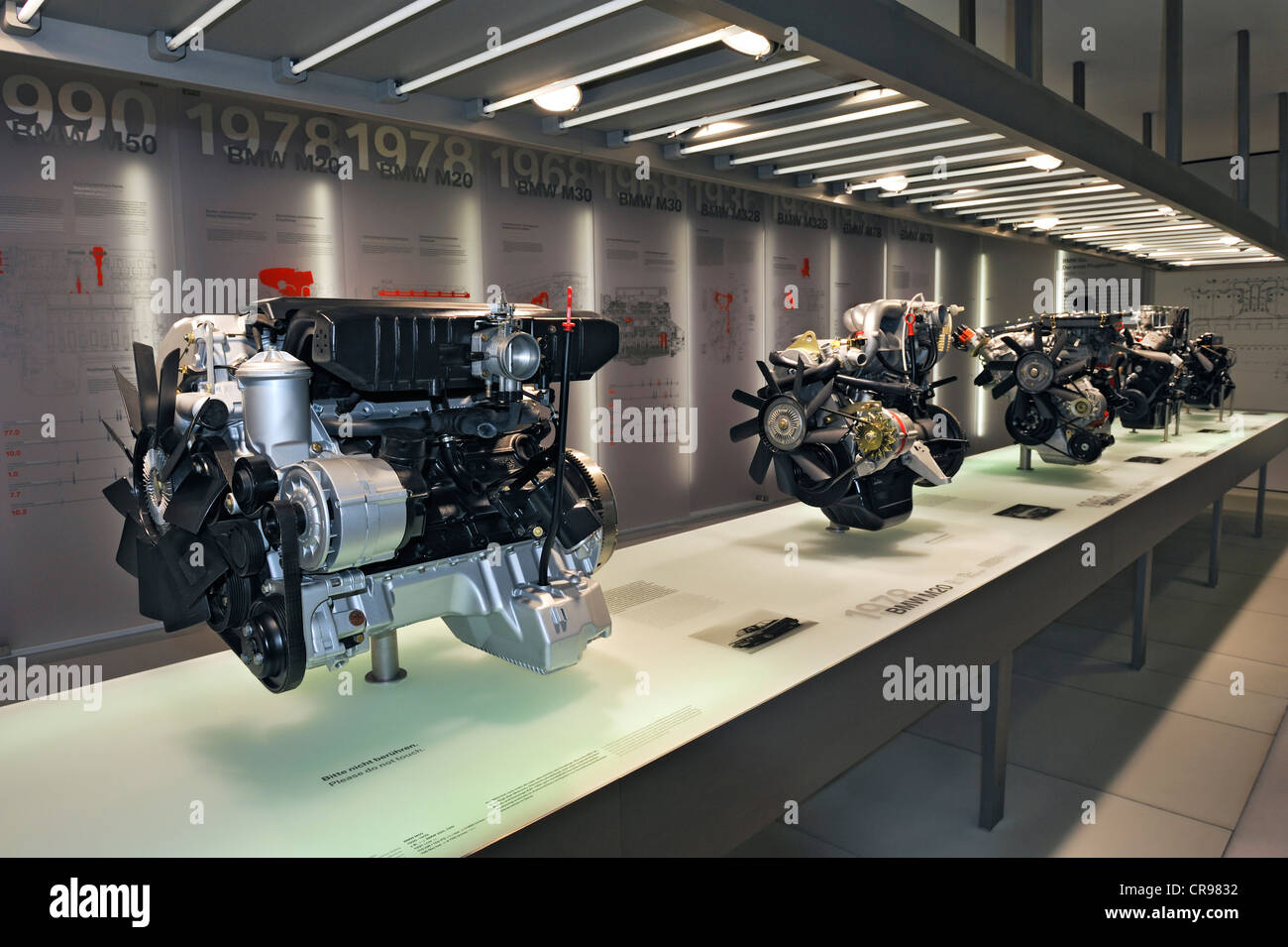 BMW car engines, BMW Museum, Munich, Bavaria, Germany, Europe - Stock Image