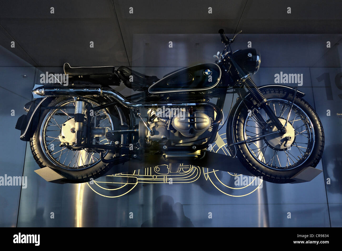 BMW-R68 from 1954, BMW Museum, Munich, Bavaria, Germany, Europe - Stock Image