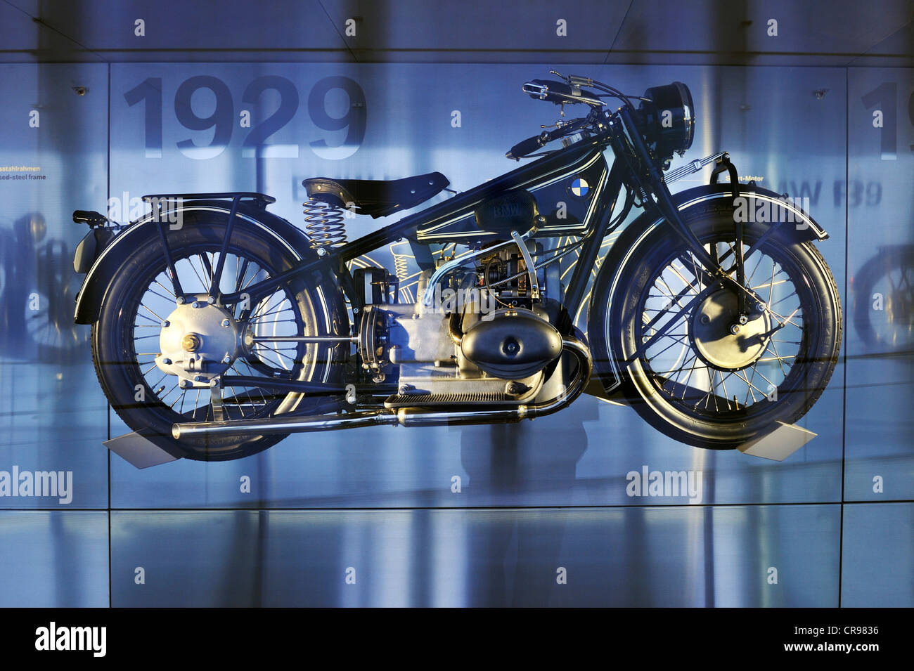 BMW-R47 from 1927, BMW Museum, Munich, Bavaria, Germany, Europe - Stock Image
