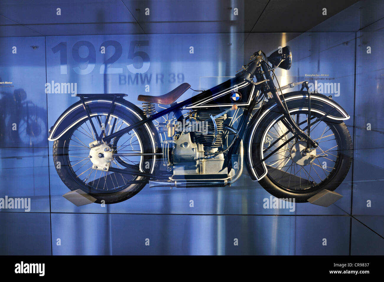 BMW-R39 from 1925, BMW Museum, Munich, Bavaria, Germany, Europe - Stock Image