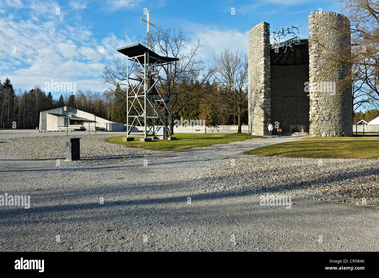 Mortal Agony of Christ Chapel with a bell tower and the Church of Reconciliation on the camp grounds, Dachau Concentration - Stock Image