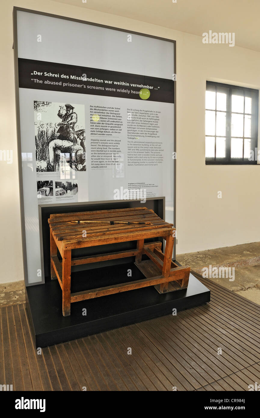 Whipping bench in the prisoners' washroom at Dachau Concentration Camp, Dachau, near Munich, Bavaria, Germany, - Stock Image