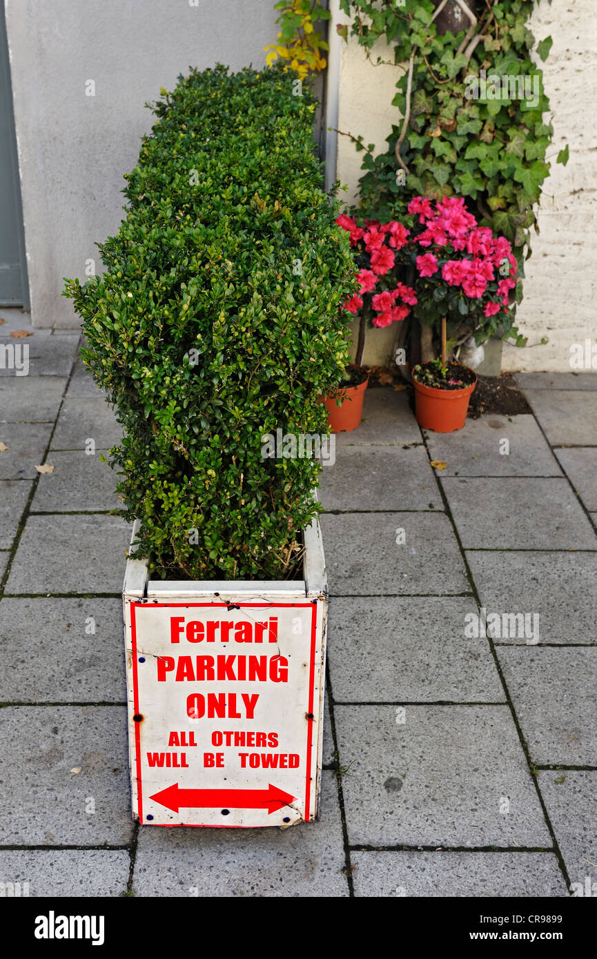 Sign 'Ferrari parking only', Munich, Bavaria, Germany, Europe - Stock Image