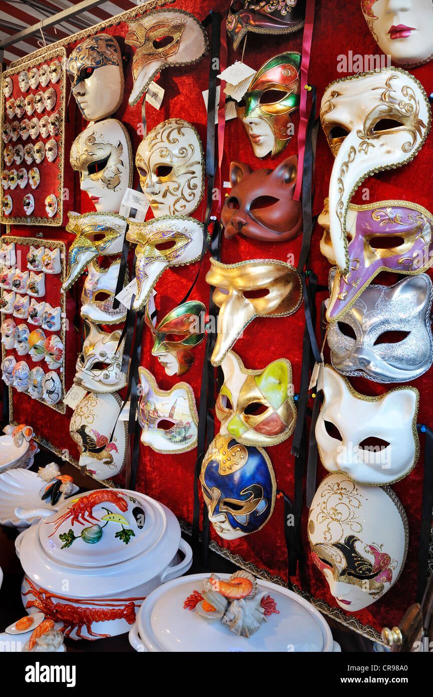 Venetian masks and crockery, Auer Dult market, Munich, Bavaria, Germany, Europe - Stock Image