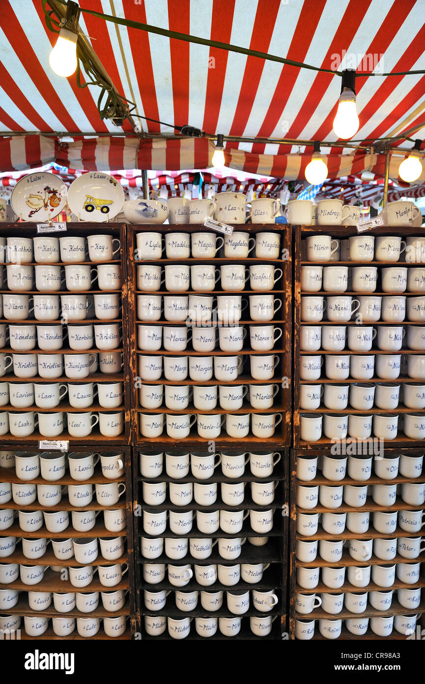 Cups with names, Auer Dult market, Munich, Bavaria, Germany, Europe - Stock Image