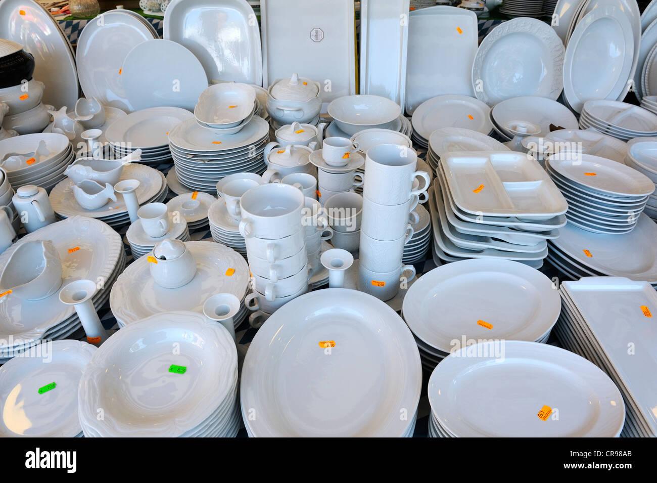 White crockery, Auer Dult market, Munich, Bavaria, Germany, Europe - Stock Image
