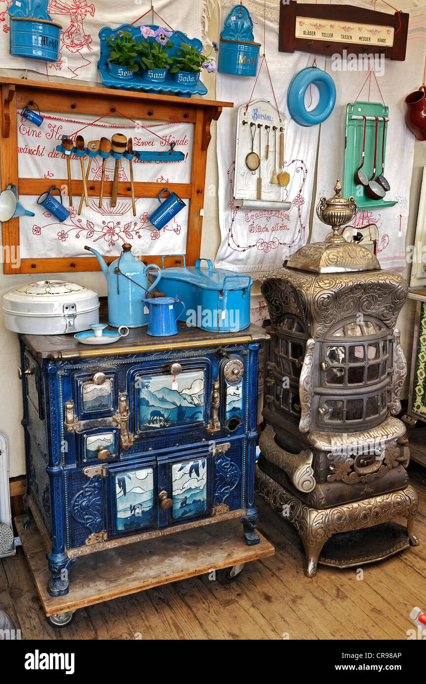 Old stoves, Auer Dult market, Munich, Bavaria, Germany, Europe - Stock Image