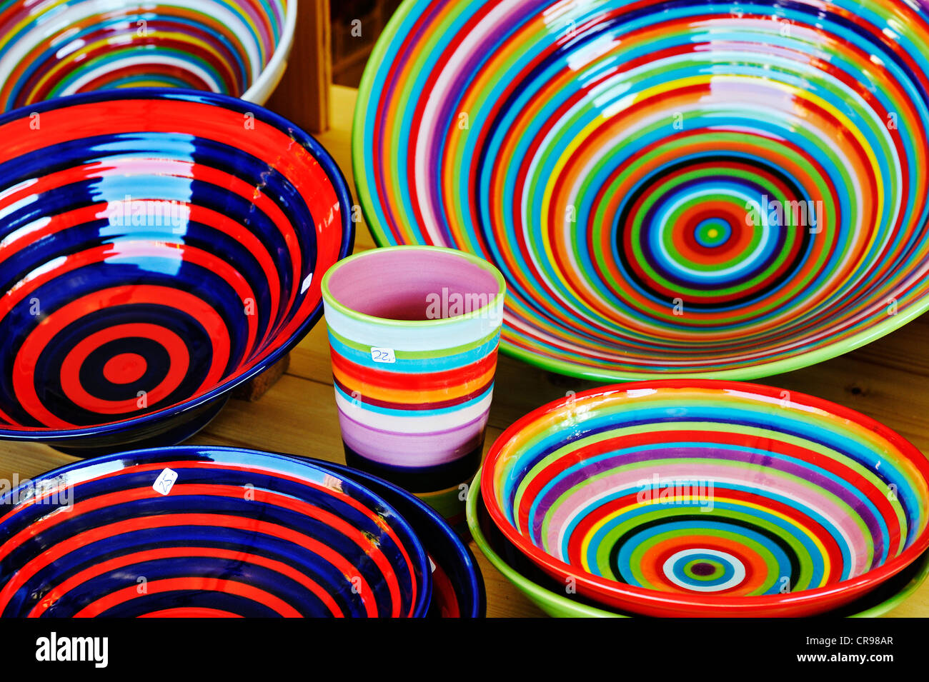 Colourful bowls and cups, Auer Dult market, Munich, Bavaria, Germany, Europe - Stock Image