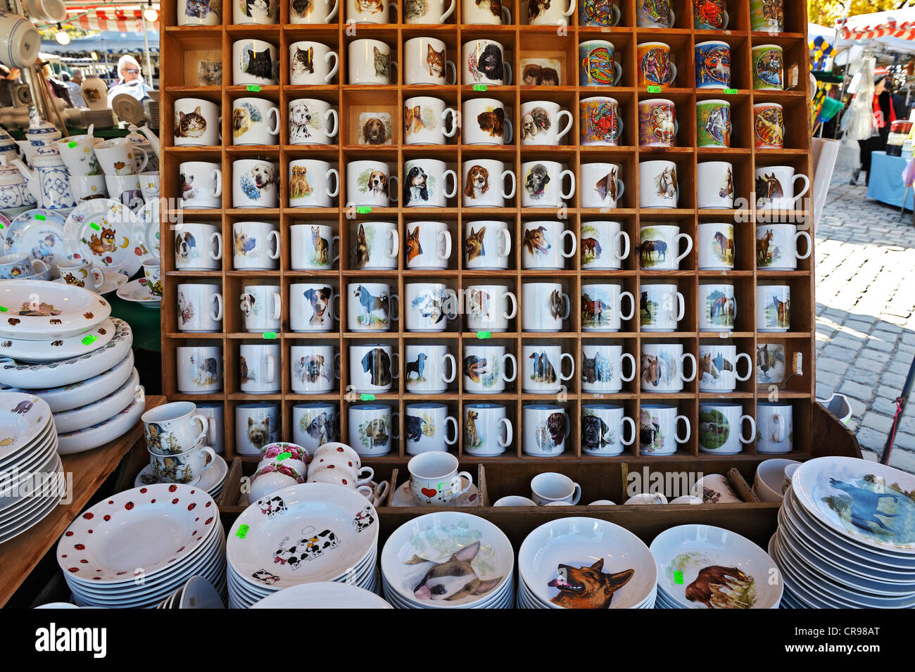 Cups and plates printed with animal motifs, Auer Dult market, Munich, Bavaria, Germany, Europe - Stock Image