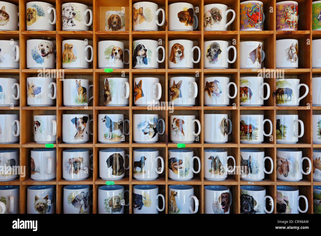 Cups printed with animal motifs, Auer Dult market, Munich, Bavaria, Germany, Europe - Stock Image
