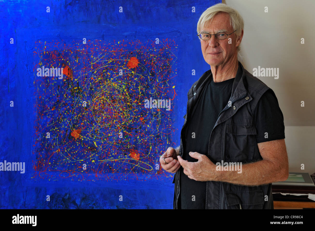 Retiree in front of his painting, Bavaria, Germany, Europe - Stock Image
