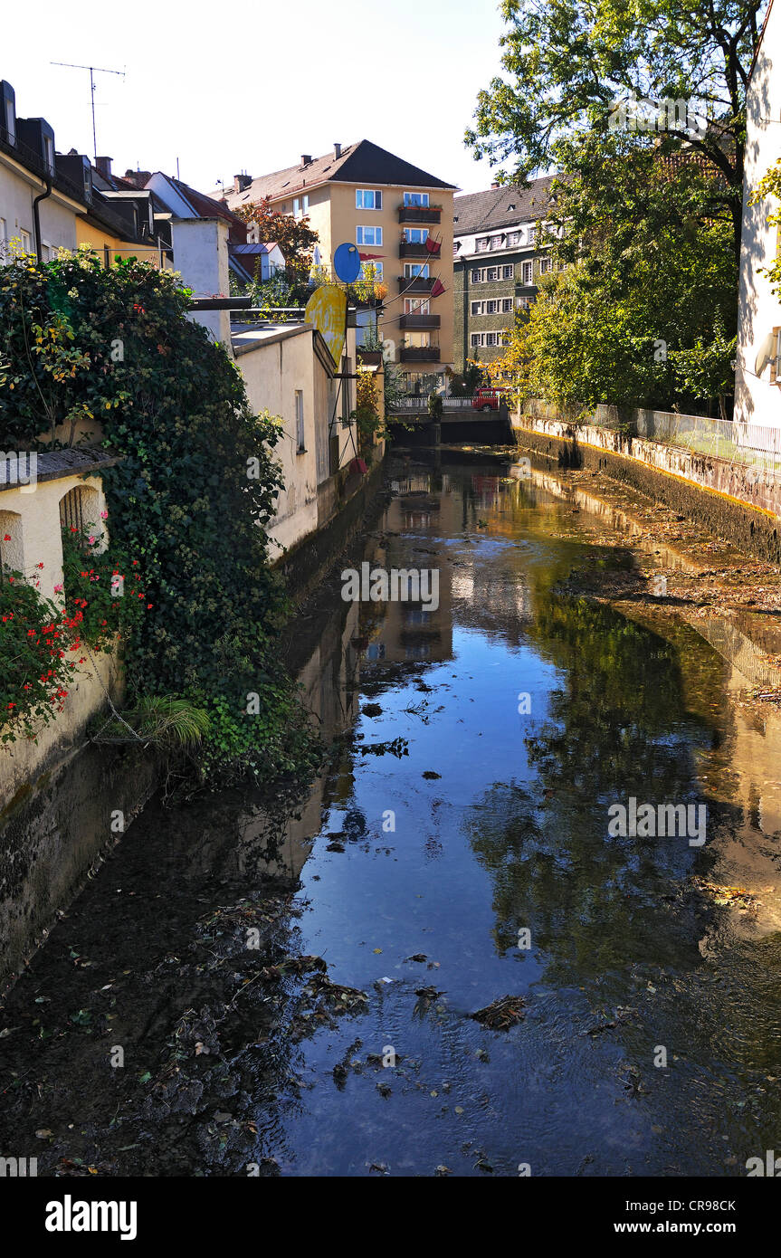 Klein-Venedig, Little-Venice, on the Auer Muehlbach stream, Munich, Bavaria, Germany, Europe - Stock Image