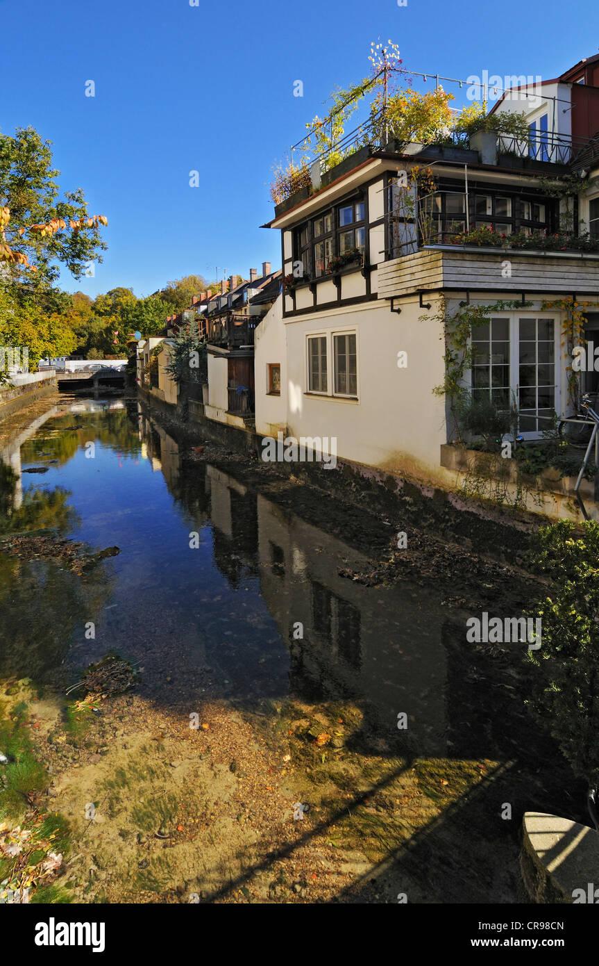Klein-Venedig, Little-Venice, Auer Muehlbach stream, Munich, Bavaria, Germany, Europe - Stock Image