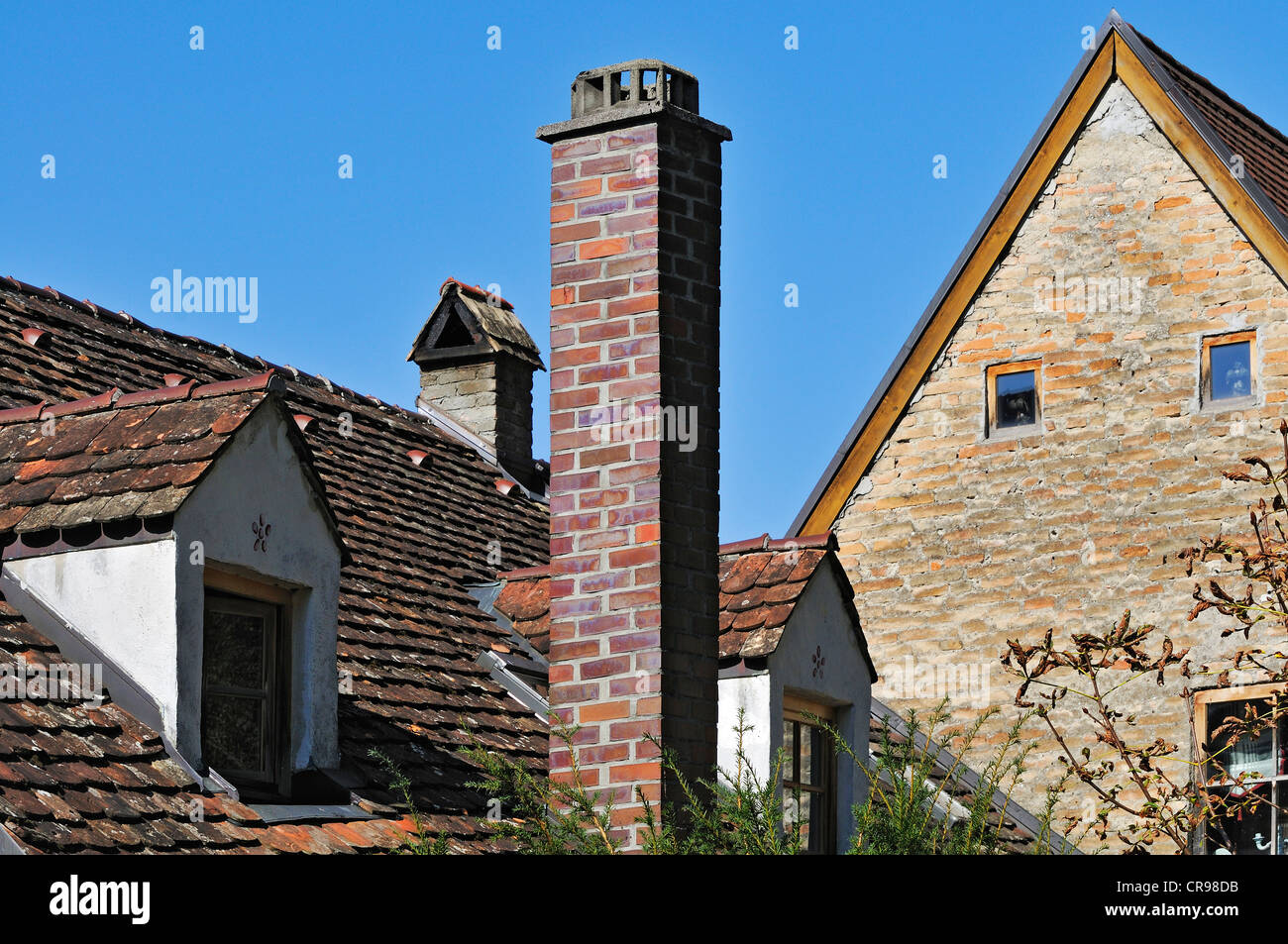 Chimneys and dormers, Landsberg am Lech, Bavaria, Germany, Europe - Stock Image