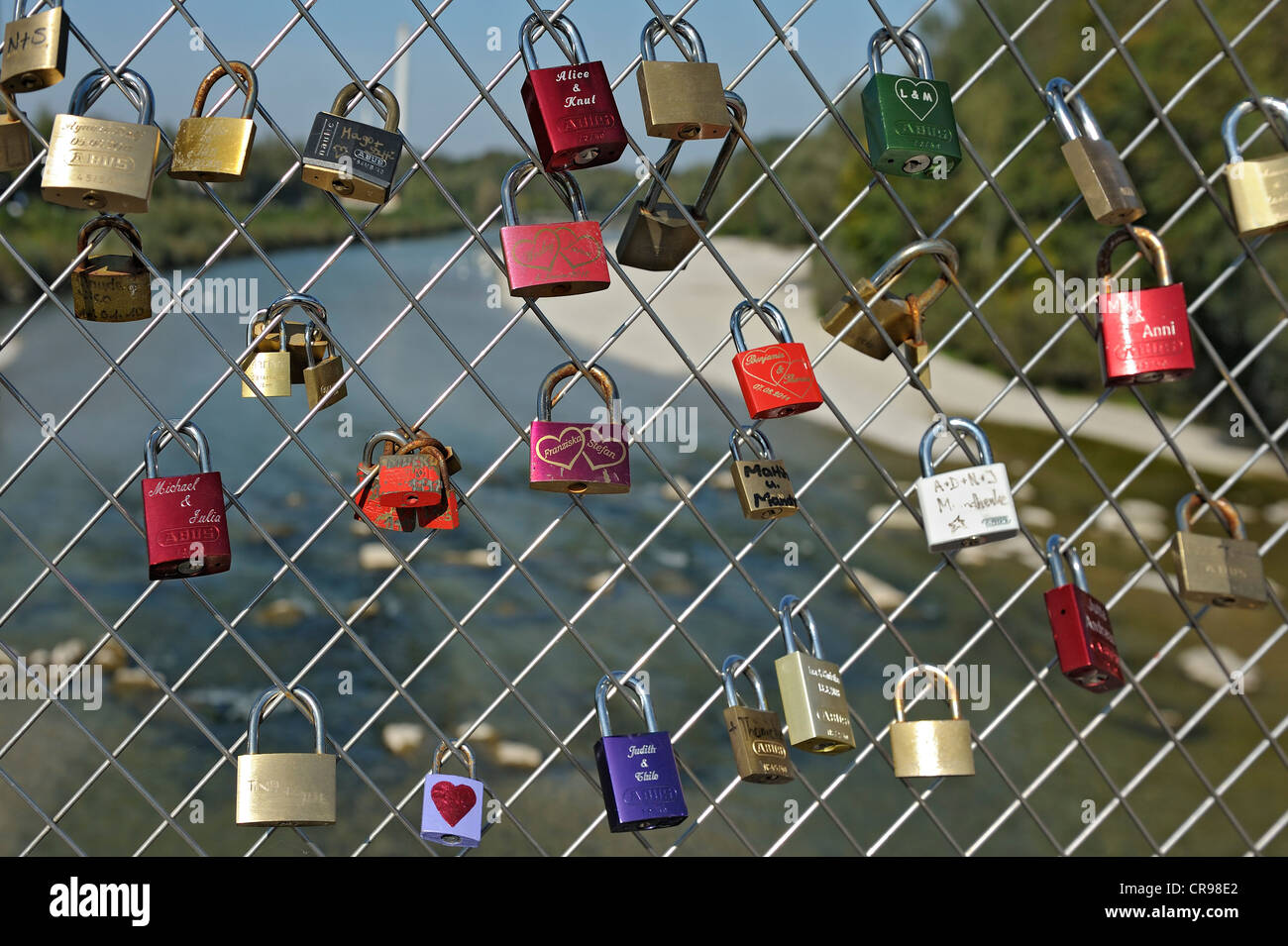 Love padlocks on Thalkirchner Bruecke bridge, Munich, Bavaria, Germany, Europe - Stock Image