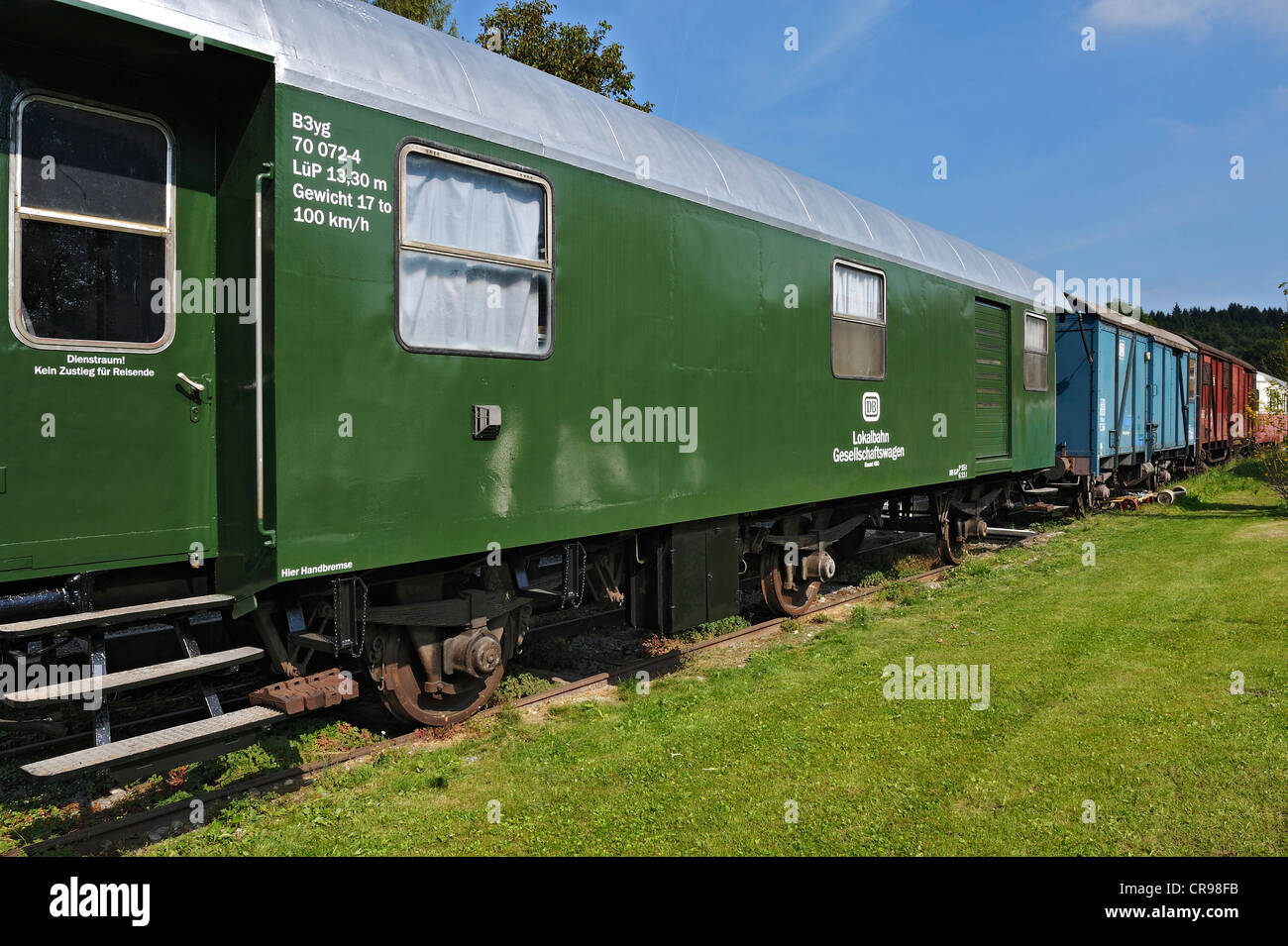 Old railway carriages in Amerang, Bavaria, Germany, Europe - Stock Image