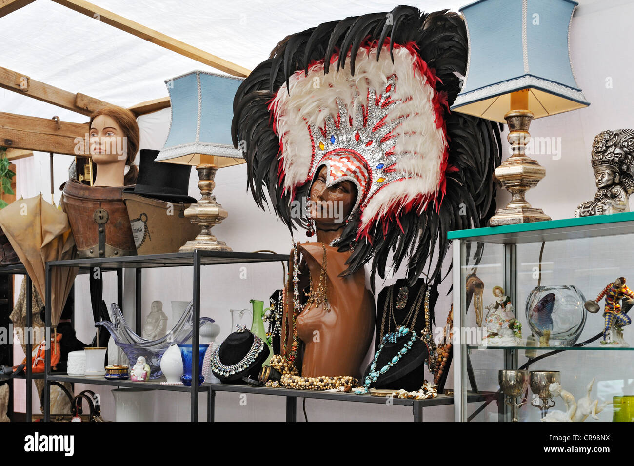 Headdress with feathers, odds and ends, Auer Dult market, Munich, Bavaria, Germany, Europe - Stock Image