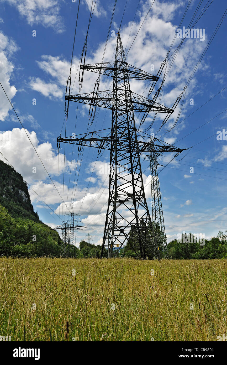 Pylons and high-voltage lines on Walchenseekraftwerk Hydroelectric Power Station, Kochel am See, Bavaria, Germany, - Stock Image