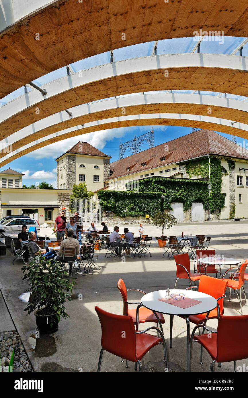 Restaurant, cafe, bistro and beer garden Oskar von Miller on the Walchenseekraftwerk power plant, Kochel am See, - Stock Image