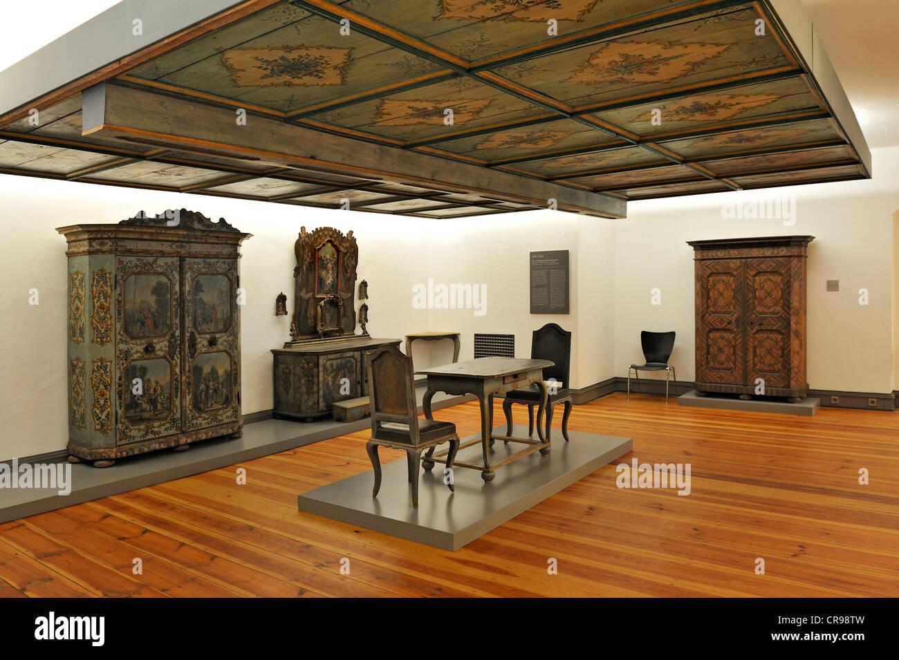 Parlour furniture from the Perthaler House near Brannenburg around 1788, Bavarian National Museum, Munich, Bavaria - Stock Image