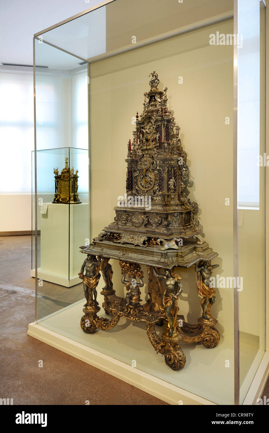 Elaborate clock, Augsburg, circa 1700, Bavarian National Museum, Munich, Bavaria, Germany, Europe - Stock Image