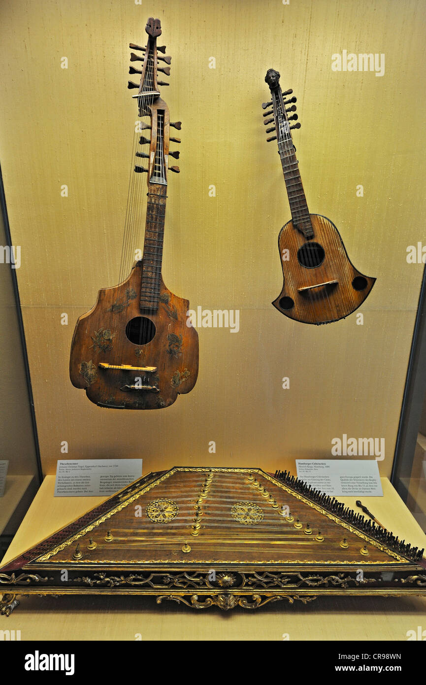Theorbencister, a cittern from circa 1740, Hamburger Cithrinchen, a cittern from 1686 and a dulcimer from circa - Stock Image