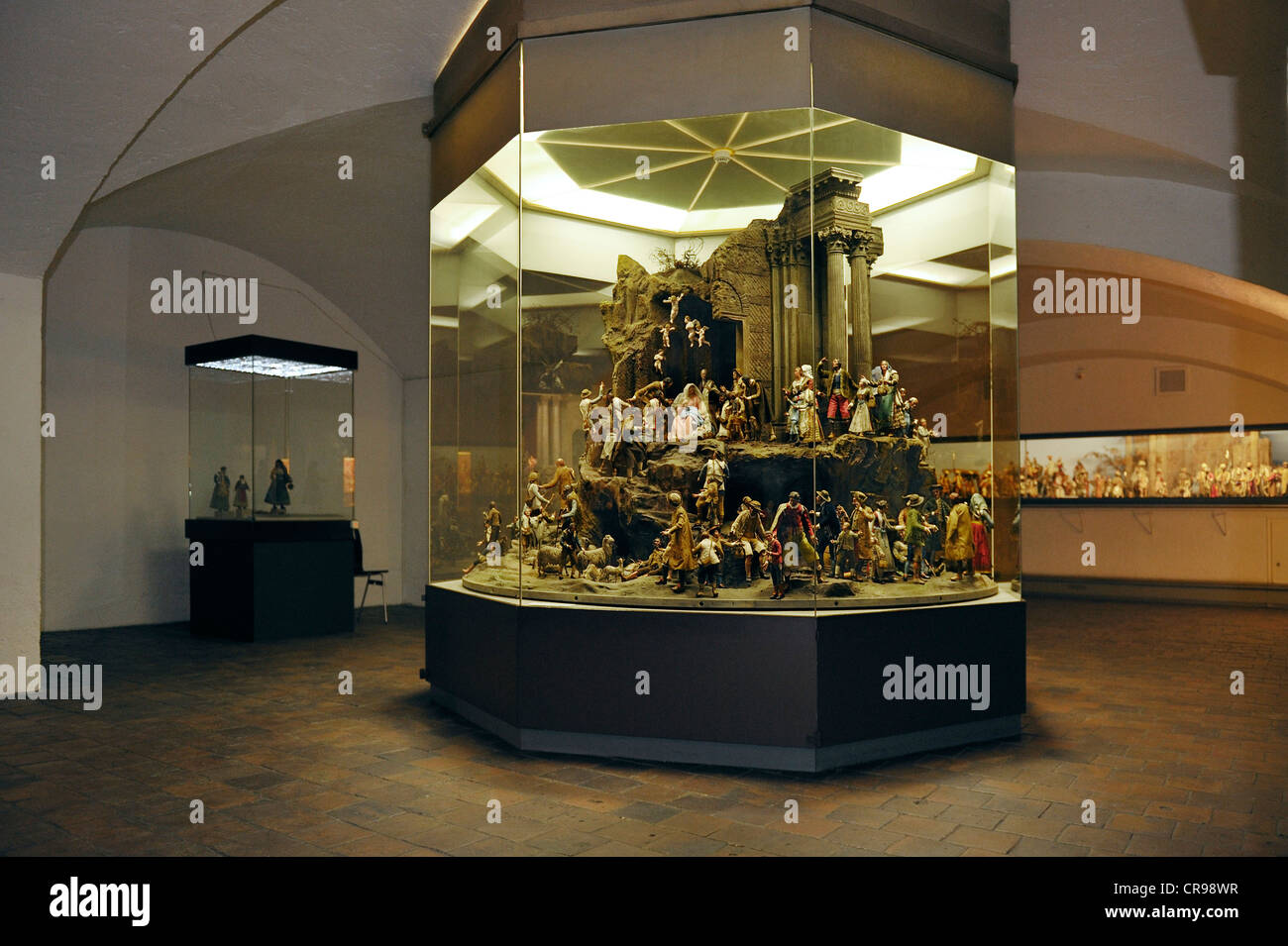 Crib collection, large Nativity Scene from circa 1850, Bavarian National Museum, Munich, Bavaria, Germany, Europe - Stock Image