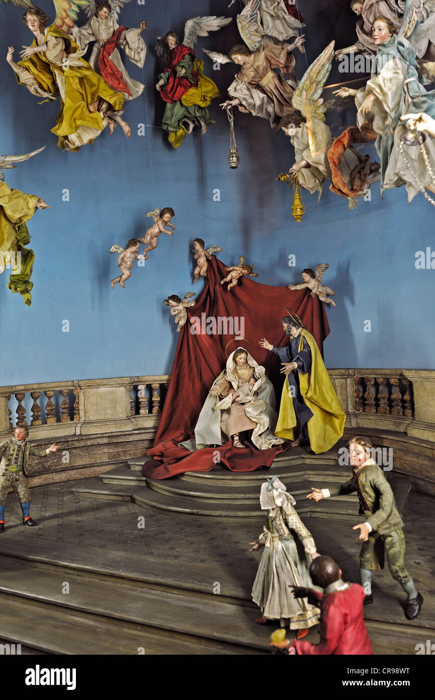Crib collection, angels worshiping in a Nativity Scene, Naples from circa 1780, Bavarian National Museum, Munich, - Stock Image