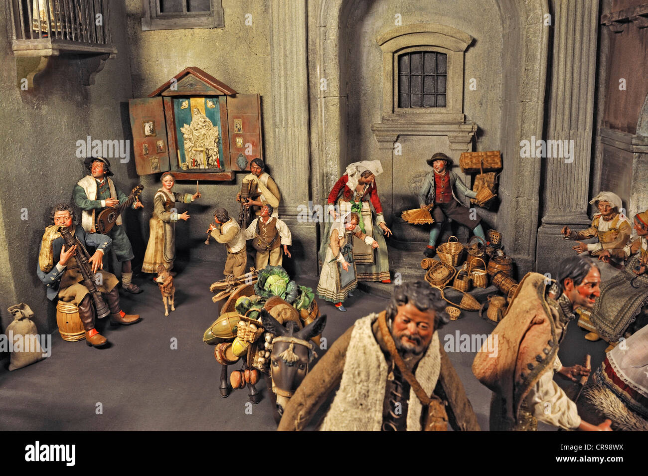 Crib collection, street in Naples with a market scene from circa 1750, Bavarian National Museum, Munich, Bavaria - Stock Image