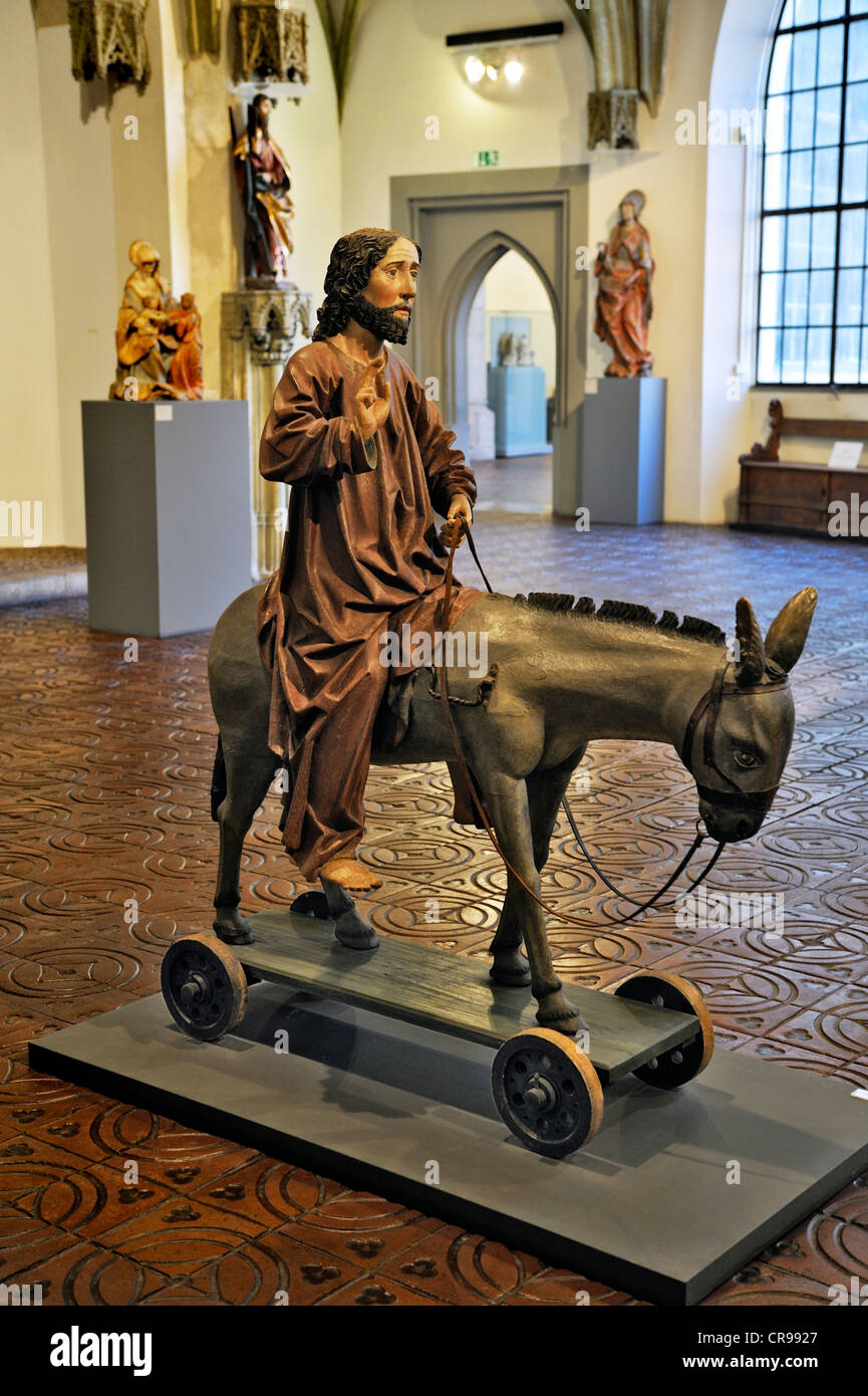 Hall of medieval religious art and the Palm Donkey from Ottenstall in the Allgaeu, end of the 15th Century - Stock Image