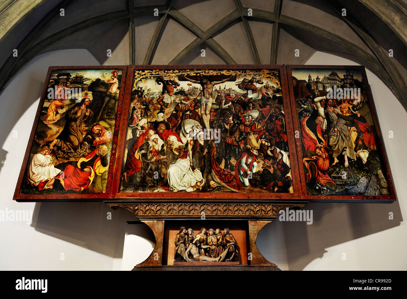 Altarpiece with scenes from the Passion from the high altar of the former Franciscan Church of St. Anthony in Munich - Stock Image