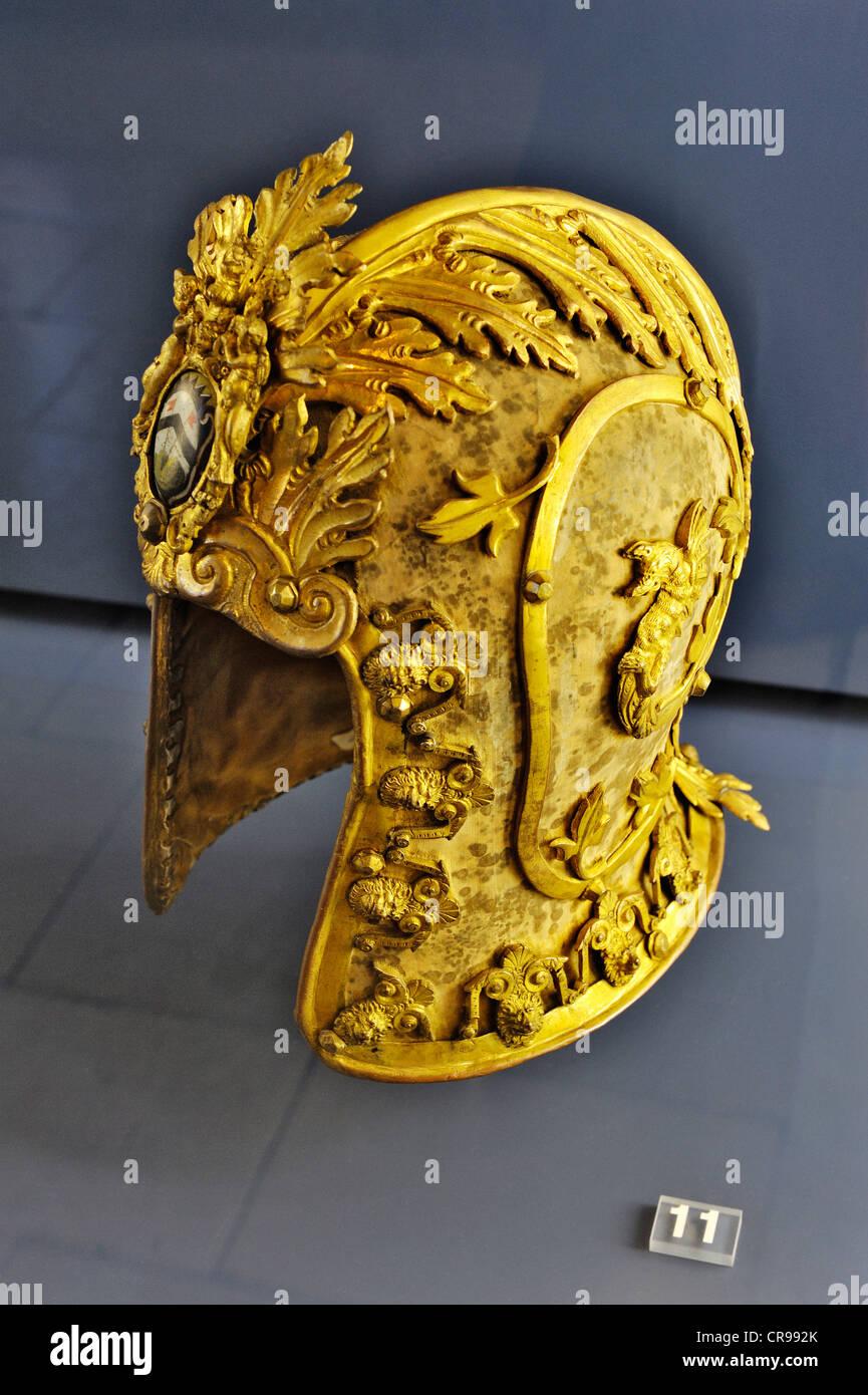 Italian Schallern (Milan or Venice) decorative helmet, from 1600, Bavarian National Museum, Prinzregentenstrasse - Stock Image