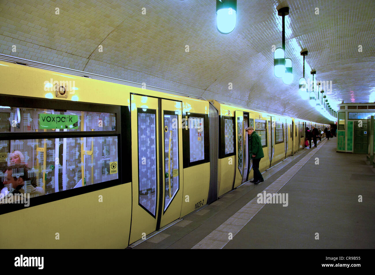 Berlin, Germany. U-Bahn (underground railway). Markisches Museum station - train at platform - Stock Image