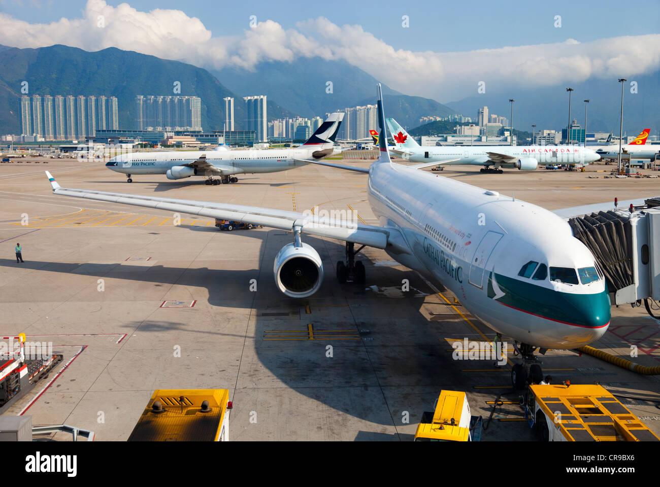 Hong Kong's Chek Lap Kok Airport - Stock Image