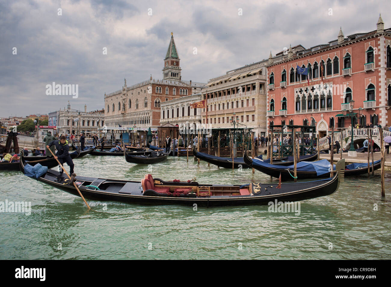 Gondola's, Campanile Di San Marco and Doges Palace, Venice, Italy. - Stock Image