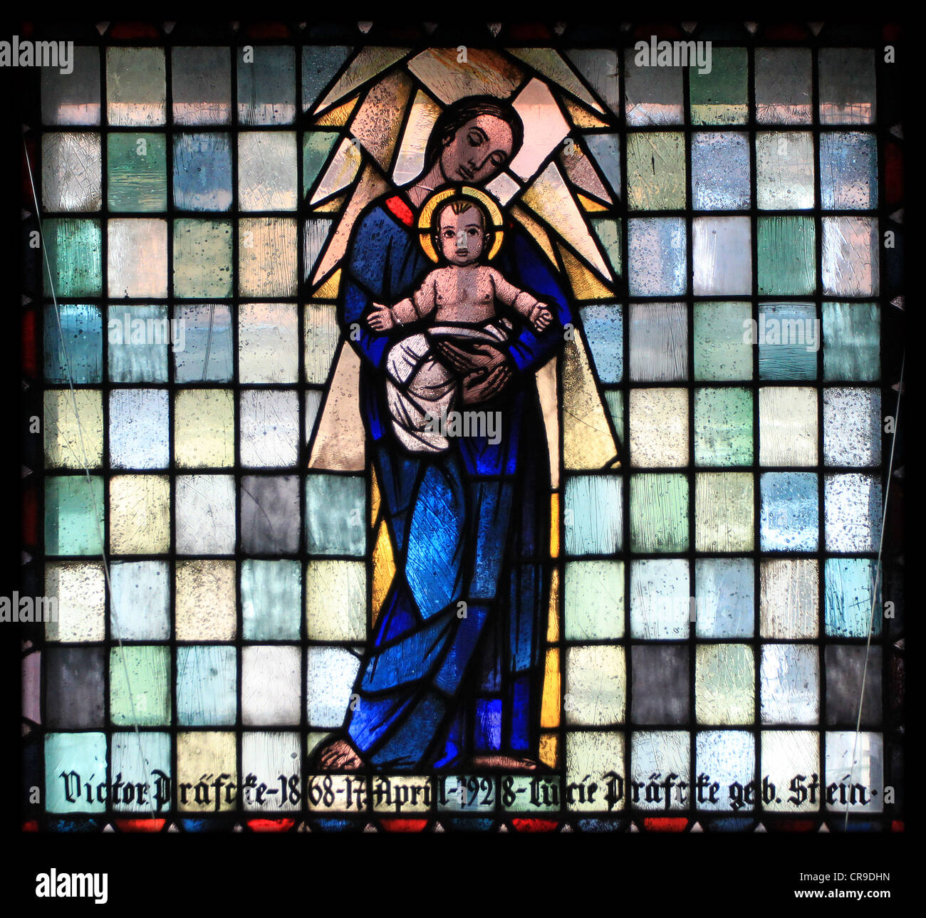 Stained glass window of the municipal church in Neustrelitz, Germany. - Stock Image