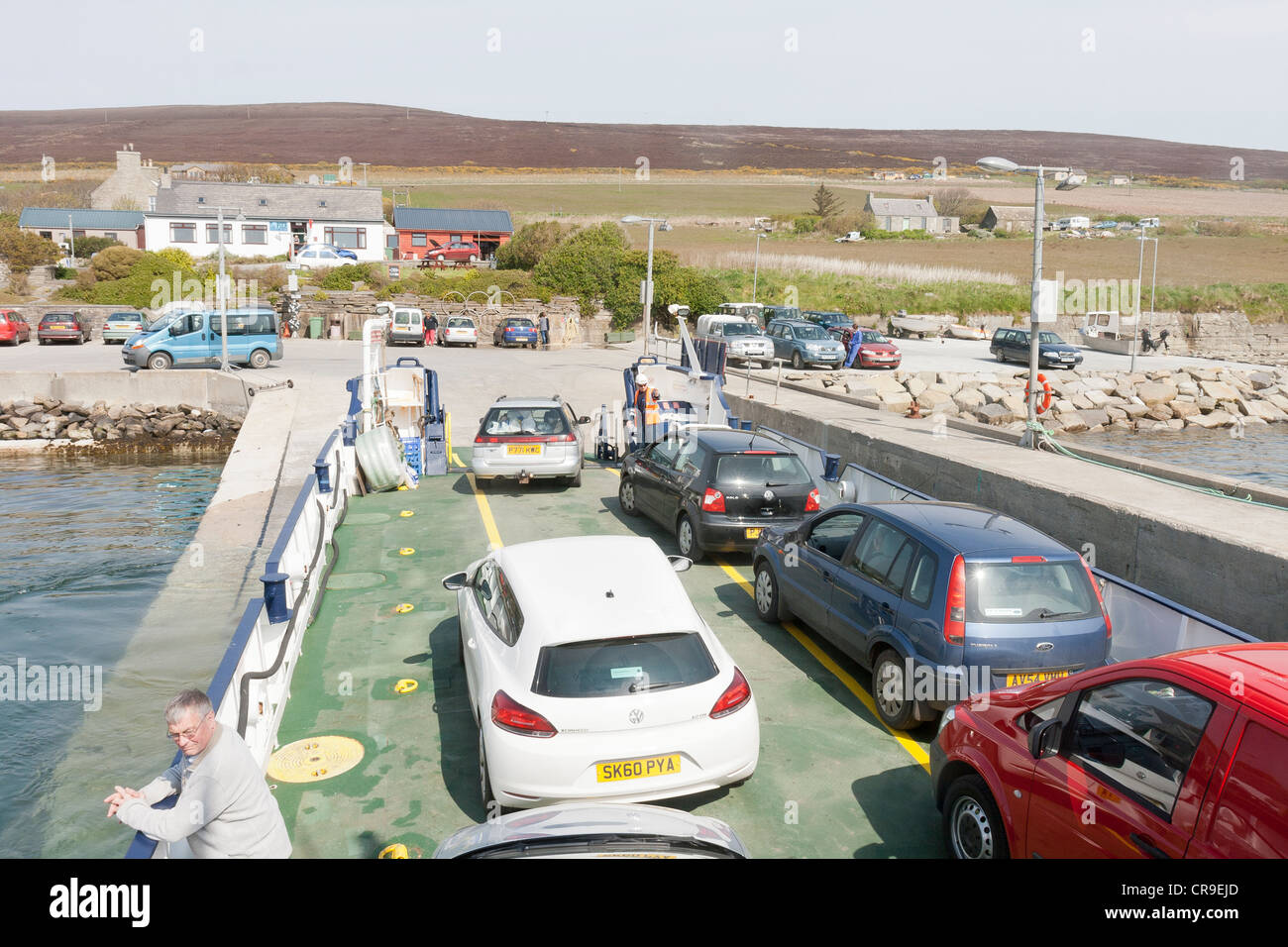 The Island of Rousay - Orkney Islands, Scotland.  cars leaving the ferry - Stock Image
