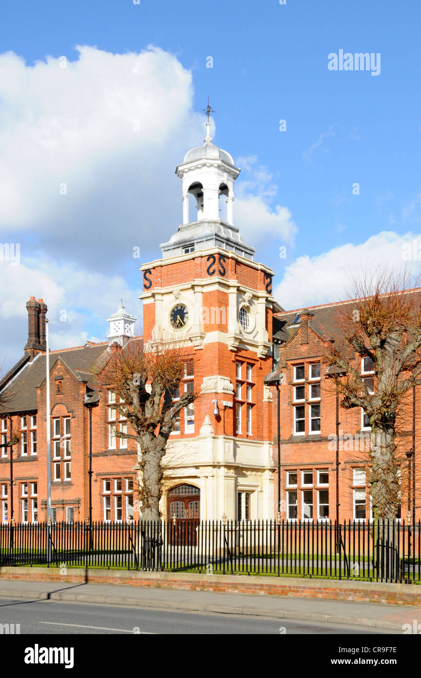 Front of Brentwood School main brick building private independent day & boarding school education with clock - Stock Image