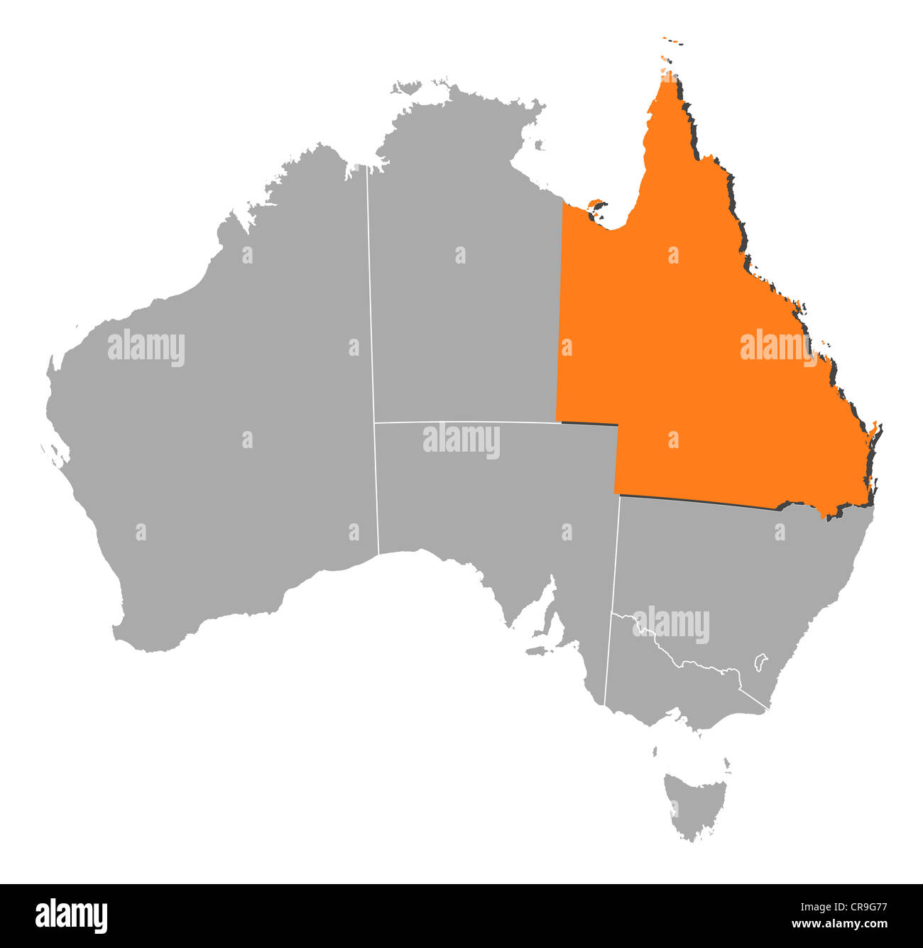 Map Of Australia Showing States.Political Map Of Australia With The Several States Where Queensland