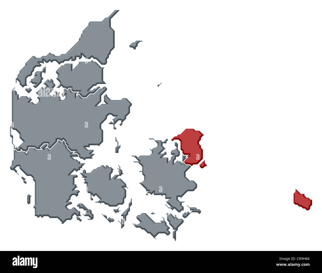 Political map of Danmark with the several regions where Capital Region is highlighted. - Stock Image