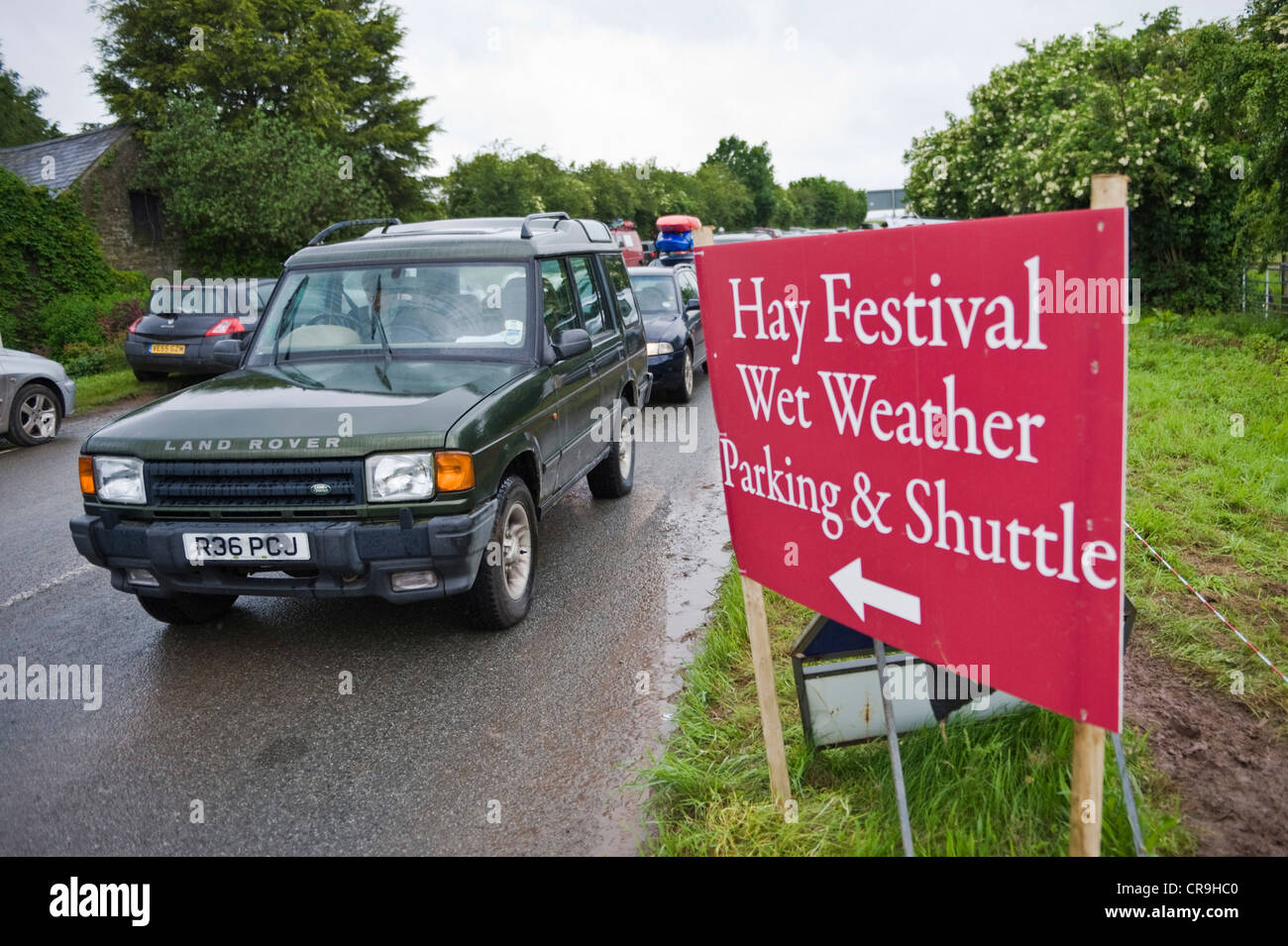 Wet weather car park signage at The Telegraph Hay Festival 2012, Hay-on-Wye, Powys, Wales, UK - Stock Image